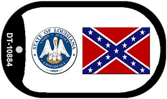 Confederate Flag Louisiana Seal Wholesale Novelty Metal Dog Tag Necklace DT-10884