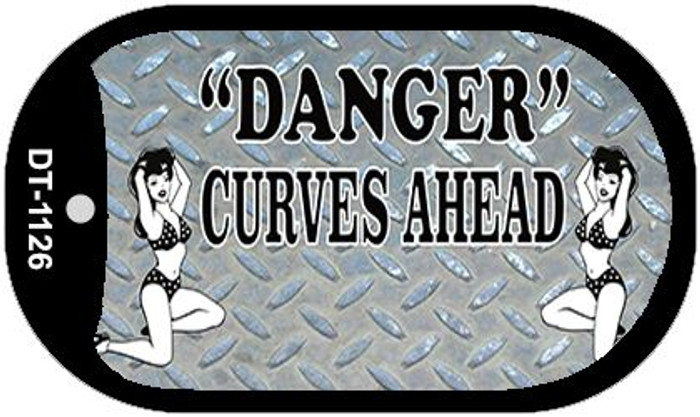 Danger Curves Ahead Wholesale Novelty Metal Dog Tag Necklace DT-1126