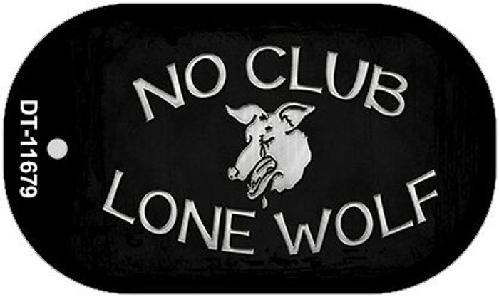 No Club Lone Wolf Wholesale Novelty Metal Dog Tag Necklace DT-11679