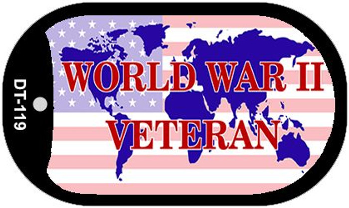 WW2 Veteran With American Flag Wholesale Novelty Metal Dog Tag Necklace DT-119