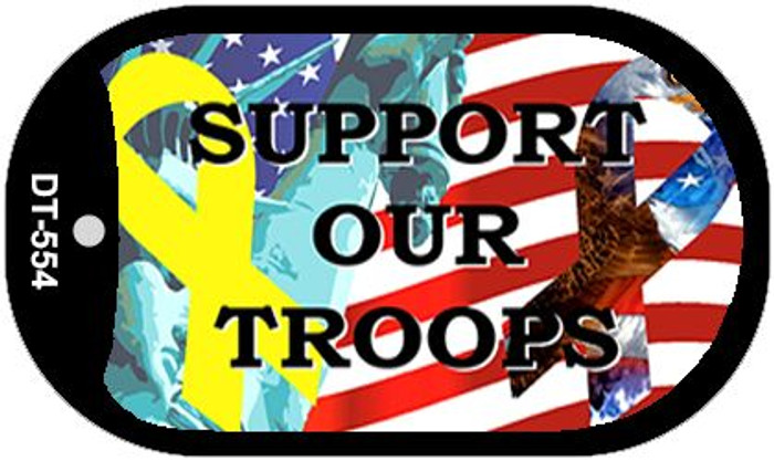 Support Our Troops Wholesale Novelty Metal Dog Tag Necklace DT-554