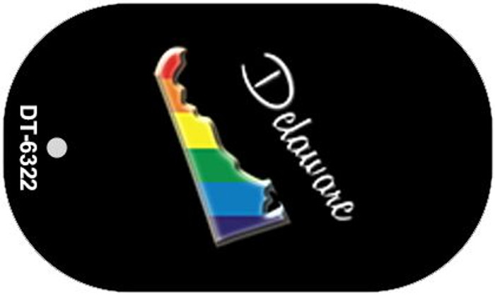 Delaware Rainbow State Wholesale Novelty Metal Dog Tag Necklace DT-6322