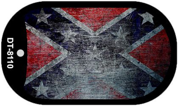 Confederate Flag Scratched Wholesale Novelty Metal Dog Tag Necklace DT-8110