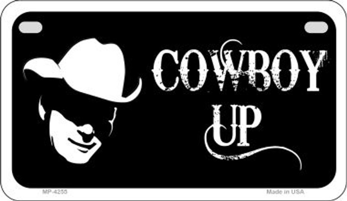 Cowboy Up Wholesale Novelty Metal Motorcycle Plate MP-4255