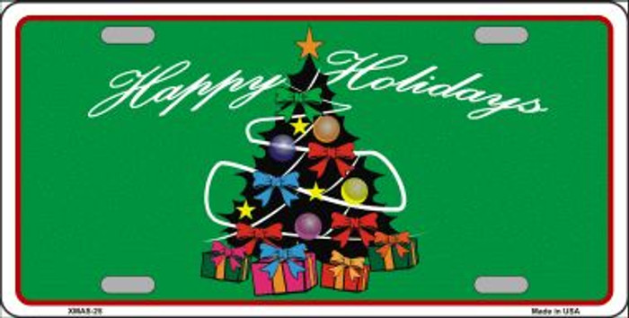 Happy Holidays Christmas Tree Wholesale Metal Novelty License Plate