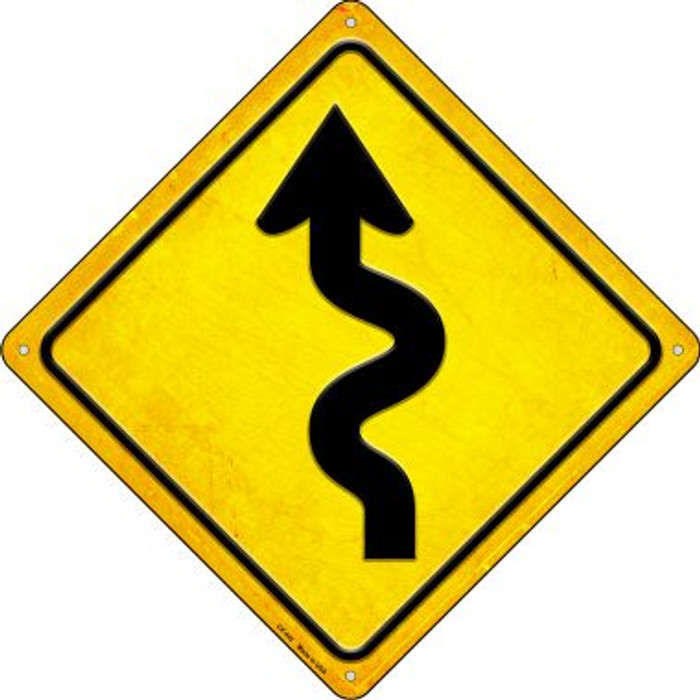 Curvy Road Wholesale Novelty Metal Crossing Sign CX-442