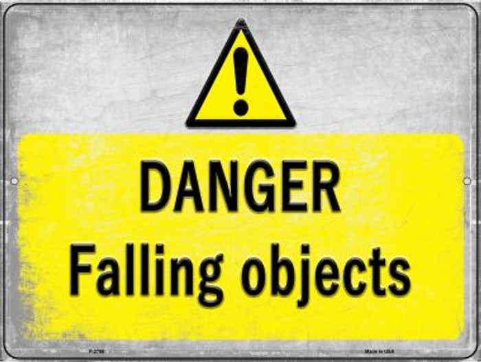 Danger Falling Objects Wholesale Novelty Metal Parking Sign P-2750