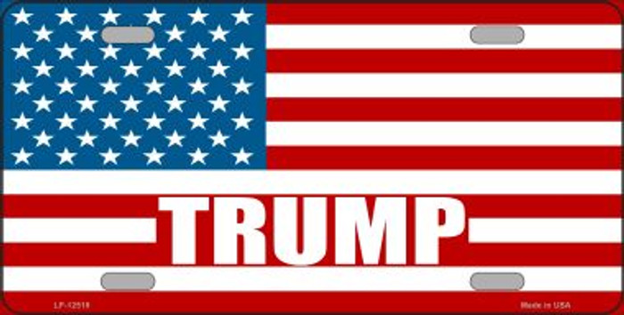 Trump American Flag Wholesale Novelty Metal License Plate LP-12519