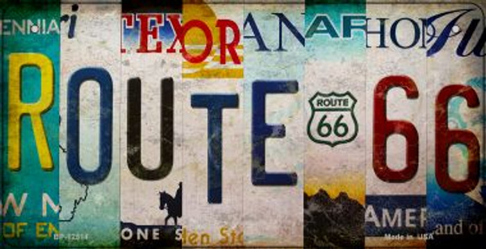 Route 66 Strip Wholesale Novelty Metal Bicycle Plate BP-12514