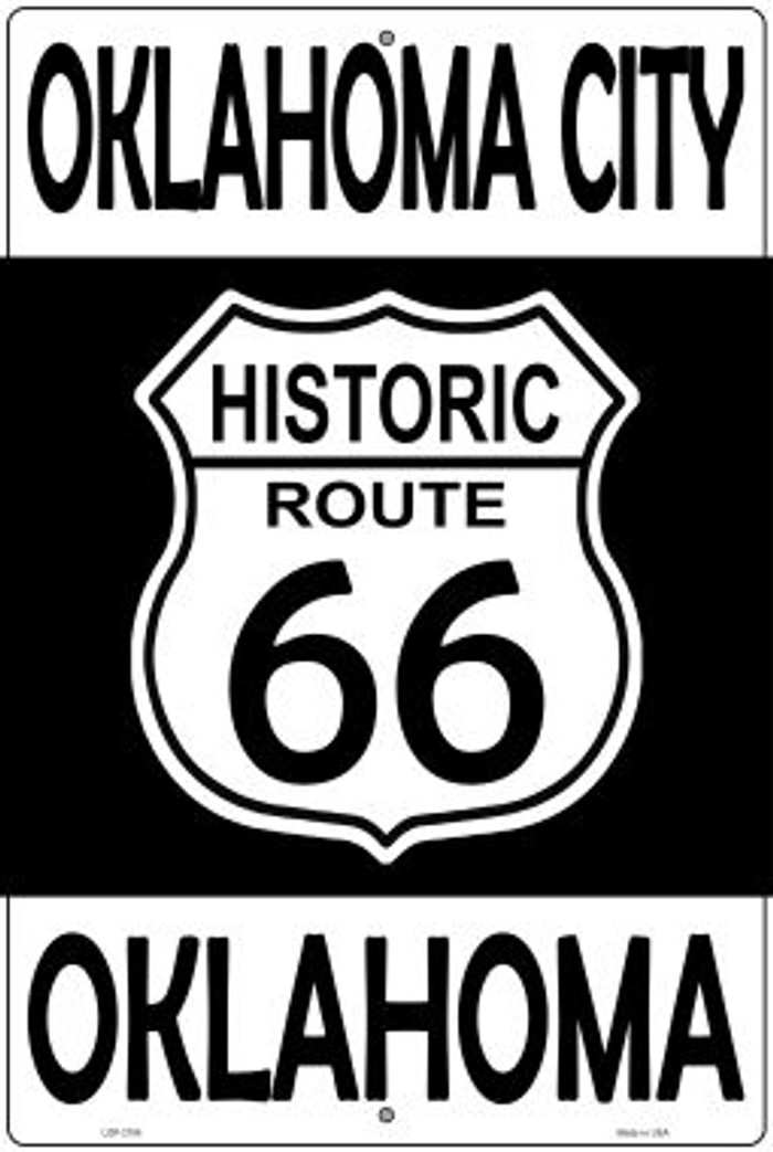 Oklahoma City Oklahoma Historic Route 66 Wholesale Novelty Metal Large Parking Sign LGP-2784