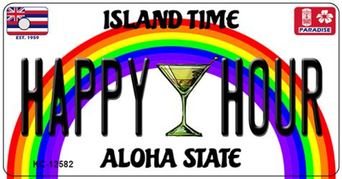 Happy Hour Hawaii Wholesale Novelty Metal Key Chain KC-12582