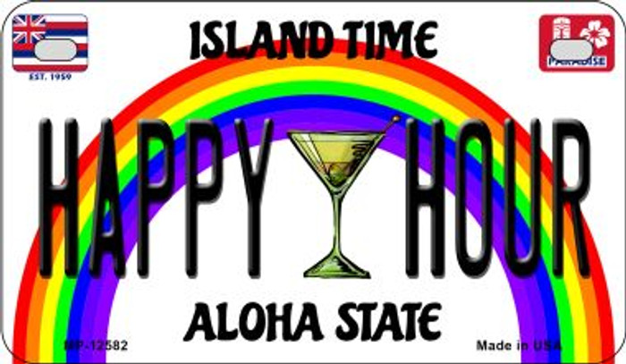Happy Hour Hawaii Wholesale Novelty Metal Motorcycle Plate MP-12582
