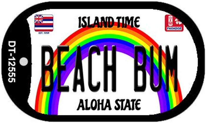 Beach Bum Hawaii Wholesale Novelty Metal Dog Tag Necklace DT-12555