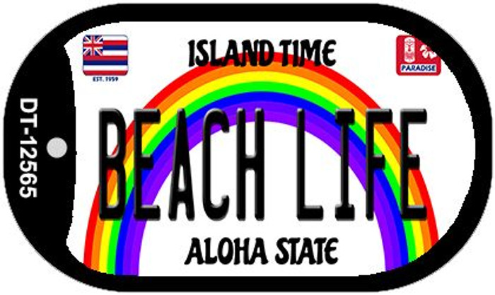 Beach Life Hawaii Wholesale Novelty Metal Dog Tag Necklace DT-12565