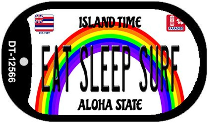 Eat Sleep Surf Hawaii Wholesale Novelty Metal Dog Tag Necklace DT-12566