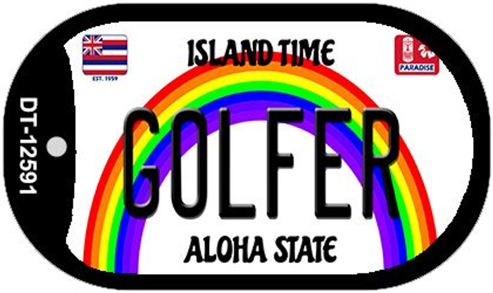 Golfer Hawaii Wholesale Novelty Metal Dog Tag Necklace DT-12591