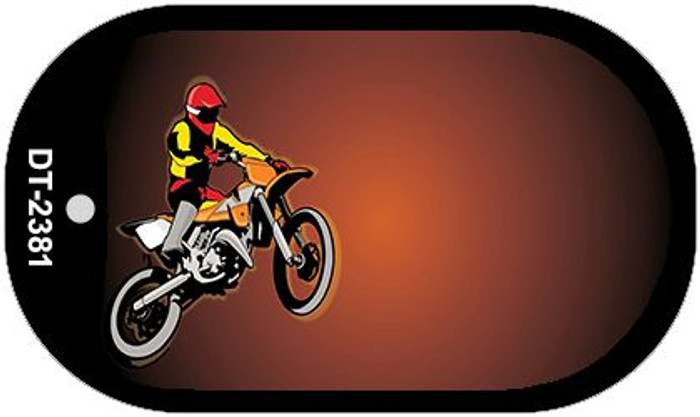 Dirt Bike Offset Wholesale Novelty Metal Dog Tag Necklace DT-2381