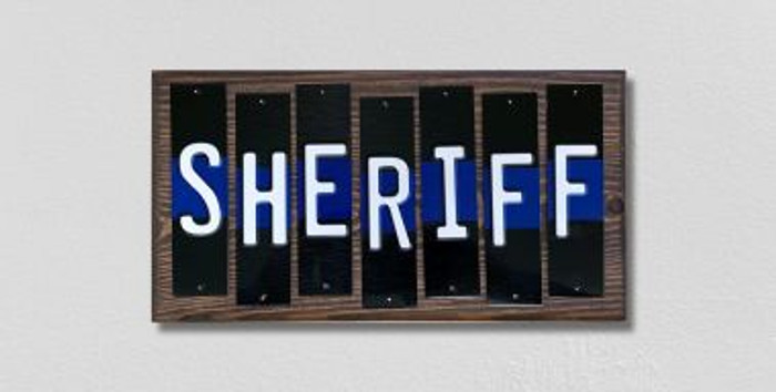 Sheriff Police Thin Blue Line Fun Strips Wholesale Novelty Wood Sign WS-597