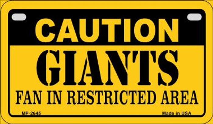 Caution Giants Fan Area Wholesale Novelty Metal Motorcycle Plate MP-2645