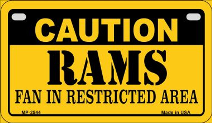 Caution Rams Fan Area Wholesale Novelty Metal Motorcycle Plate MP-2544