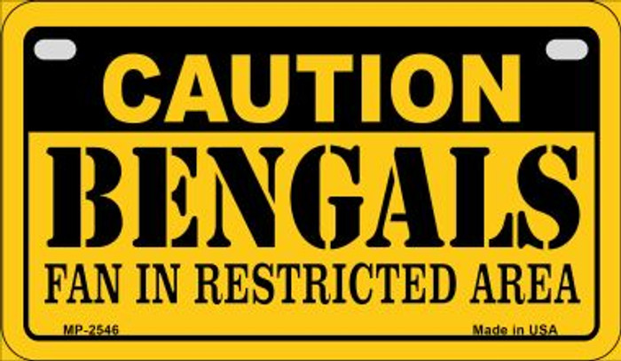 Caution Bengals Fan Area Wholesale Novelty Metal Motorcycle Plate MP-2546