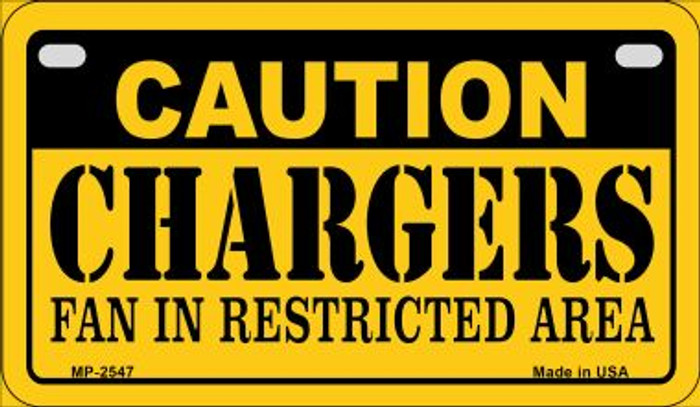 Caution Chargers Fan Area Wholesale Novelty Metal Motorcycle Plate MP-2547