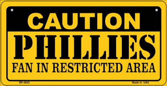 Caution Phillies Fan Area Wholesale Novelty Metal Bicycle Plate BP-2643