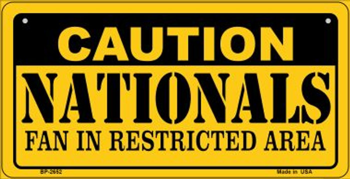 Caution Nationals Fan Area Wholesale Novelty Metal Bicycle Plate BP-2652
