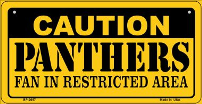 Caution Panthers Fan Area Wholesale Novelty Metal Bicycle Plate BP-2657