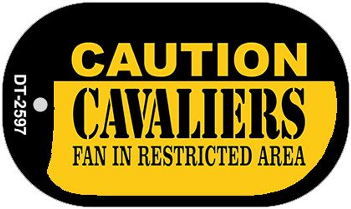 Caution Cavaliers Fan Area Wholesale Novelty Metal Dog Tag Necklace DT-2597