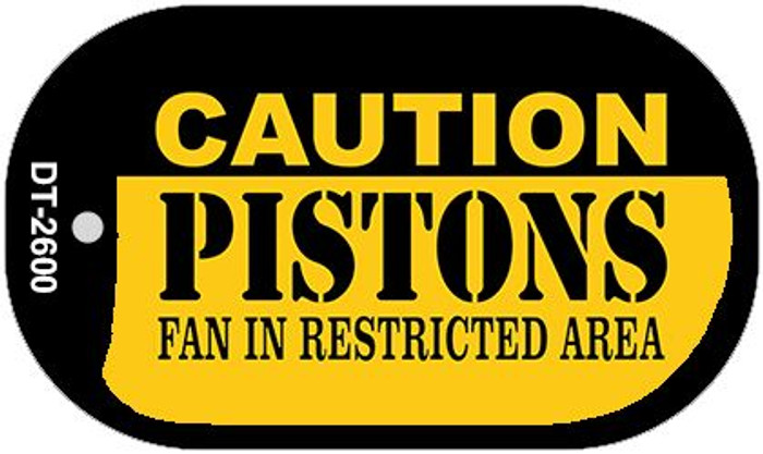 Caution Pistons Fan Area Wholesale Novelty Metal Dog Tag Necklace DT-2600