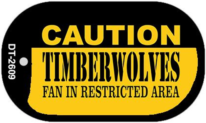 Caution Timberwolves Fan Area Wholesale Novelty Metal Dog Tag Necklace DT-2609