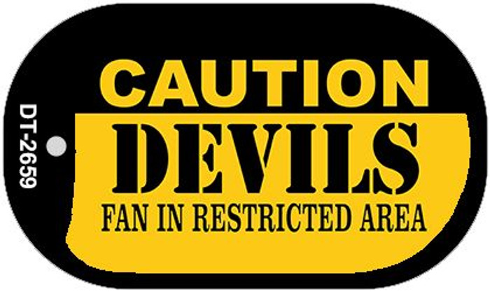 Caution Devils Fan Area Wholesale Novelty Metal Dog Tag Necklace DT-2659