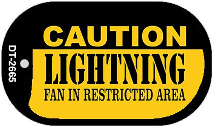 Caution Lightning Fan Area Wholesale Novelty Metal Dog Tag Necklace DT-2665