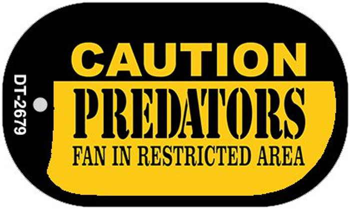 Caution Predators Fan Area Wholesale Novelty Metal Dog Tag Necklace DT-2679
