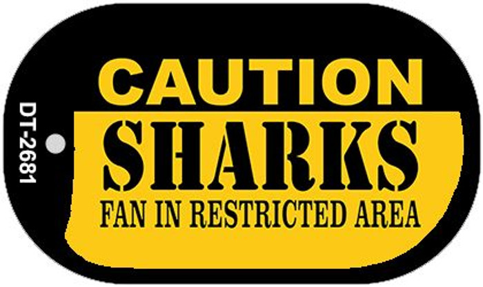 Caution Sharks Fan Area Wholesale Novelty Metal Dog Tag Necklace DT-2681