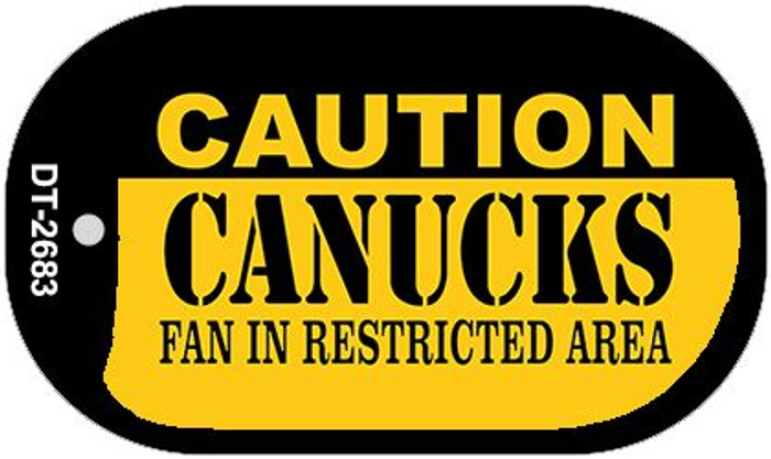 Caution Canucks Fan Area Wholesale Novelty Metal Dog Tag Necklace DT-2683