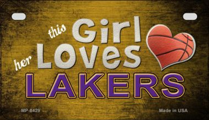 This Girl Loves Her Lakers Wholesale Novelty Metal Motorcycle Plate MP-8429