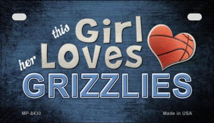 This Girl Loves Her Grizzlies Wholesale Novelty Metal Motorcycle Plate MP-8430