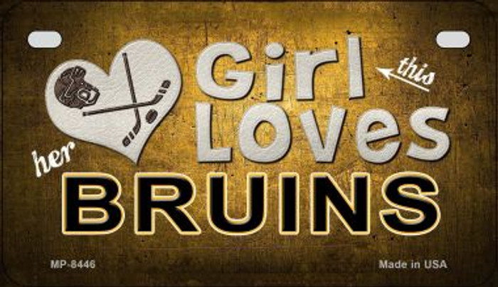This Girl Loves Her Bruins Wholesale Novelty Metal Motorcycle Plate MP-8446