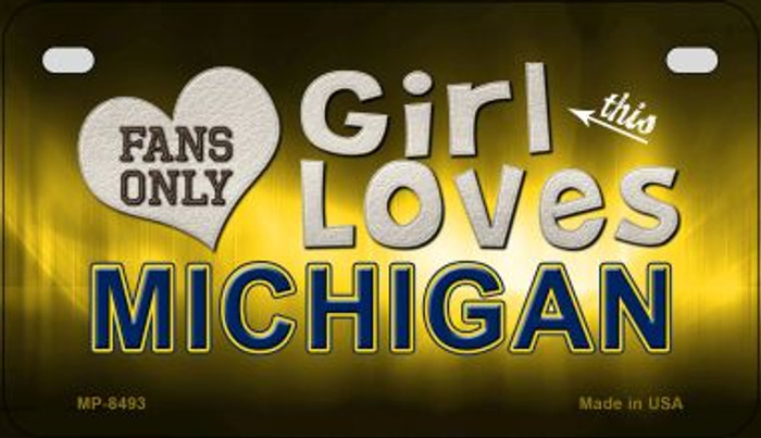 This Girl Loves Her Michigan Wholesale Novelty Metal Motorcycle Plate MP-8493