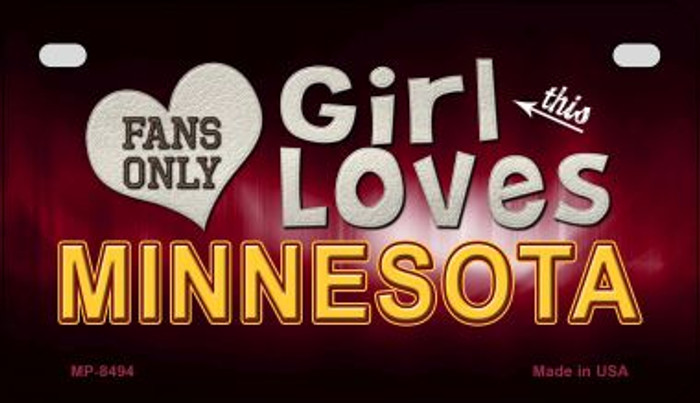 This Girl Loves Her Minnesota Wholesale Novelty Metal Motorcycle Plate MP-8494