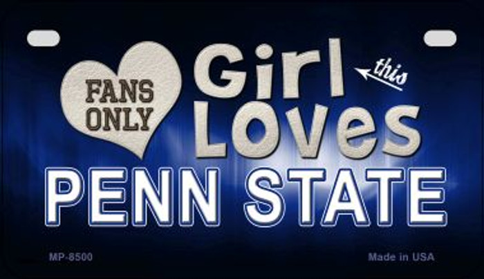 This Girl Loves Her Penn State Wholesale Novelty Metal Motorcycle Plate MP-8500