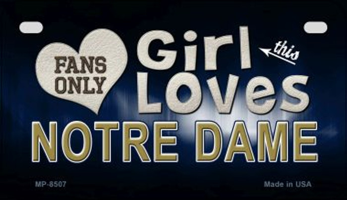 This Girl Loves Her Notre Dame Wholesale Novelty Metal Motorcycle Plate MP-8507
