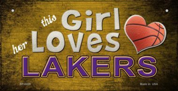 This Girl Loves Her Lakers Wholesale Novelty Metal Bicycle Plate BP-8429