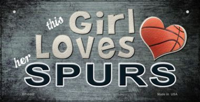 This Girl Loves Her Spurs Wholesale Novelty Metal Bicycle Plate BP-8442