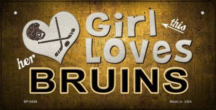 This Girl Loves Her Bruins Wholesale Novelty Metal Bicycle Plate BP-8446