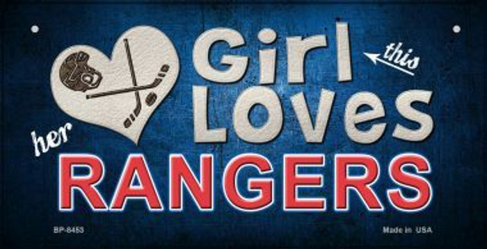 This Girl Loves Her Rangers Wholesale Novelty Metal Bicycle Plate BP-8453