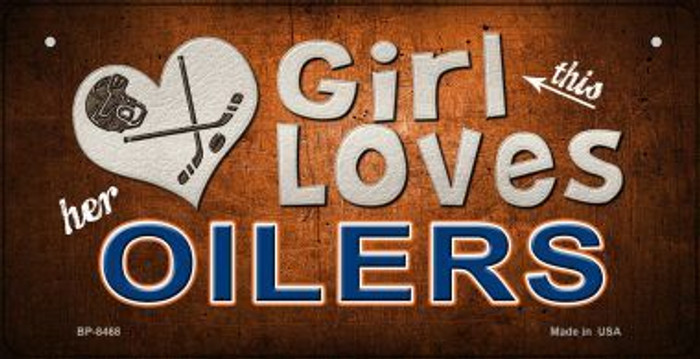This Girl Loves Her Oilers Wholesale Novelty Metal Bicycle Plate BP-8468
