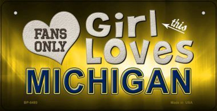 This Girl Loves Her Michigan Wholesale Novelty Metal Bicycle Plate BP-8493